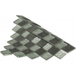 Geological Diamond Black Slate & Silver Glass Tiles