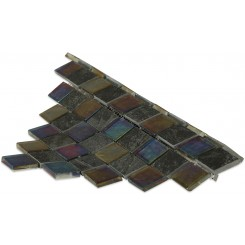 Geological Diamond Black Slate & Rainbow Black Glass Tiles