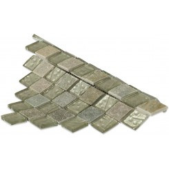 Geological Diamond Green Quartz Slate & White Gold Glass Tiles