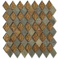 Sample- Geological Diamond Multicolor Slate & Bronze Glass Tiles Sample