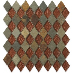 Sample- Geological Diamond Multicolor Slate & Rust Glass Tiles Sample
