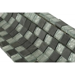 Geological Squares Black Slate & Silver Glass Tiles