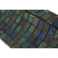 Geological Squares Black Slate & Rainbow Black Glass Tiles