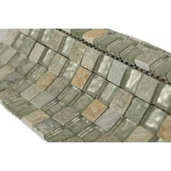 Geological Squares Green Quartz Slate & White Gold Glass Tiles