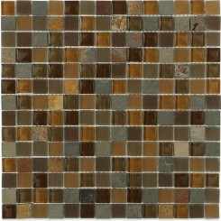 Sample-Geological Squares Multicolor Slate & Earth Blend Glass Tiles Sample
