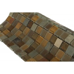 Geological Squares Multicolor Slate & Earth Blend Glass Tiles