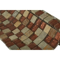 Geological Squares Multicolor Slate & Rust Glass Tiles