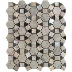 Victoria Hexagon Pearl White Carrera and Moonstone Marble and Pearl Shell Glass Tile