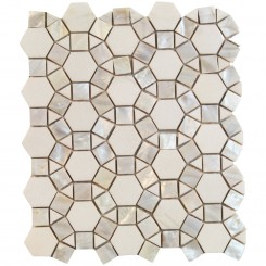 Victoria Hexagon Pearl White Thassos Marble and Pearl Shell Glass Tile
