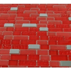 "Hell's Kitchen Blend Brick Pattern 1/2"" X 2"" Glass & Metal Tiles"