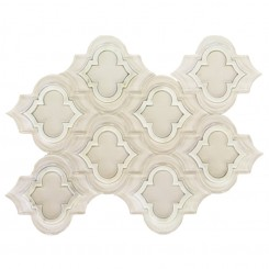 Highland Kensington Super White and Asian Statuary Marble and Glass Tile