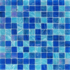 Aquatic Ocean Blue 1x1 Squares Glass Tile