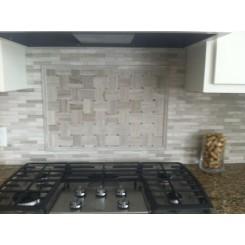 Basket Weave Wooden Beige With Athens Gray Dot Marble Tile