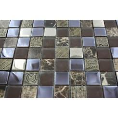 Fusion Shagbark 1x1 Marble & Glass Tiles