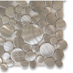 Industrial Silver Circles Aluminum Tile