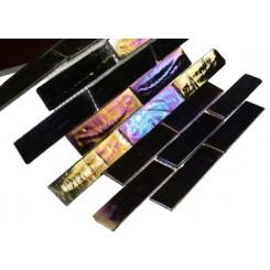 Iridescent Inkwell Brick Glass Tile