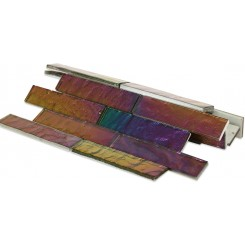 Iridescent Carnival Bricks Glass Tile