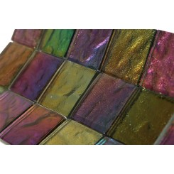 Iridescent Carnival Squares Glass Tile
