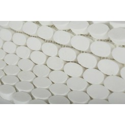 Kinetic White Thassos Ovals Marble Tiles