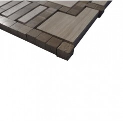 Lineage Gray Wood and Athens Gray Line Marble Tile