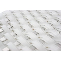 Loft Curve Super White Glass Tile W/ Metal Dot