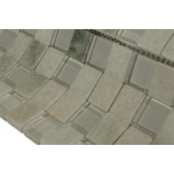 Ming White 1x1 Marble & Glass Tile