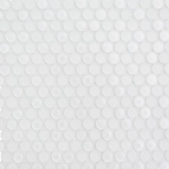 Loft Super White Glass Penny Round Tiles