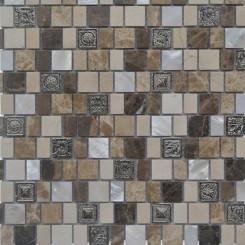 Lotus Sundial Glass and Stone Tile