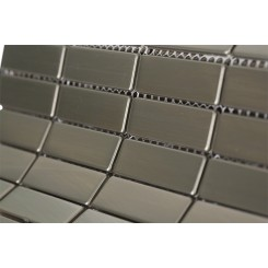 "Stainless Steel 1/2"" X 2"" Metal Tile Stacked Pattern"