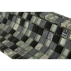 "Metallic Etched Black Ice Blend 1/2"" X 1/2"" Marble & Glass Tiles"
