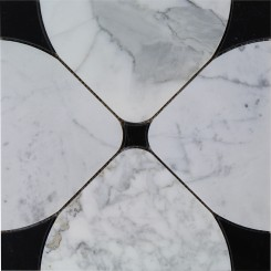 Highland Floret Black and Statuario Marble Tile