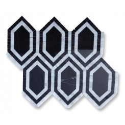 Infinity Nero Hexagon With Asian Statuary Marble Tile