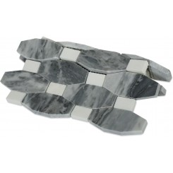 Octave Pattern Dark Bardiglio Marble Tile With Thassos Dot