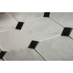 Octave Pattern White Carrera With Black Dot Marble Tile
