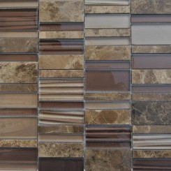 Rapids Pattern Coconut Birch Glass and Stone Tile
