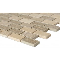 Roman Collection Desert Tan 1x2 Brick Glass Tile