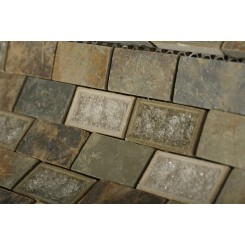 Roman Collection Emperial Slate 1x2 Brick Glass Tile