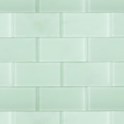 "Loft Seafoam Frosted 3"" X 6"" Glass Tiles"