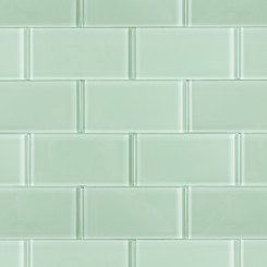 "Loft Seafoam Polished 3"" X 6"" Glass Tiles"