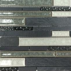 Shangri-La Black Slate Random Brick Glass and Stone Tile