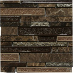 Shangri-La Espresso Random Brick Glass and Stone Tile