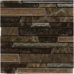 Shangri-La Espresso Random Brick Glass and Stone Tile