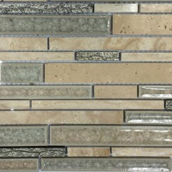 Shangri-La Travertine Random Brick Glass and Stone Tile