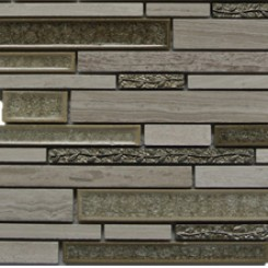 Shangri-La Wooden Beige Random Brick Glass and Stone Tile