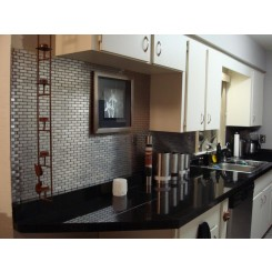 "Stainless Steel .75""x2.5"" Metal Tile Brick Pattern"