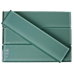 Loft Tea Green 2x8 Polished Glass Tiles
