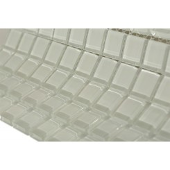 Loft Super White Polished 1 x 1 Glass Tile