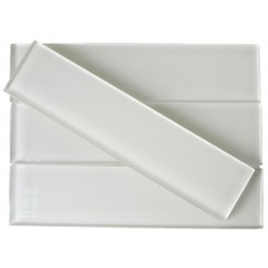 Sample-Loft Super White Polished 2x8 Glass Tile Sample