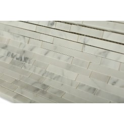 Torpedo White Carrera Marble Mosaic Tile