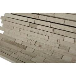 Torpedo Wooden Beige Marble Mosaic Tiles